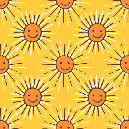 Cute Colorful Hand-Drawn Felt Tip Marker Shining Sun with Beams on Yellow Background Set Vector Seamless Pattern. Whimsical Summer Trendy Kids Print for Fashion, Textiles