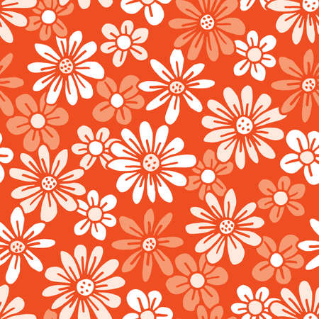 Monochrome Orange Hand Drawn Felt Tip Pen Daisies Background Floral Vector Seamless Pattern. Cream Flowers Design. Bold Large Vintage Blooms Fashion, Textile Trendy Print Stock Illustratie
