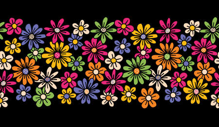 Bright Colorful Hand Drawn Felt Tip Pen Daisies on Dark Background Floral Vector Seamless Horiozontal Pattern Border. Orange Pink Yellow Flowers Design. Bold Large Vintage Blooms Fashion, Textile Trendy Print