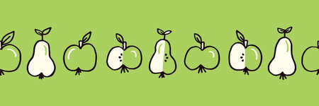Cute Monochrome Green Hand Drawn Felt Tip Pen Fresh and Juicy Apple and Pears Fruits on White Vector Seamless Pattern. Healthy Food Design. Vintage Cute Fruits Fashion, Textile Packaging Print