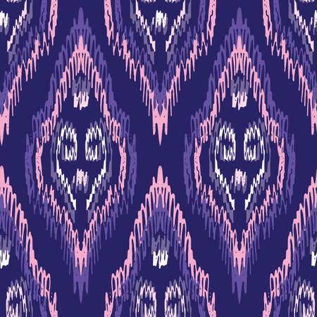 Hand-Drawn Purple Traditional Ikat Boho Damask Diamonds Vector Seamless Pattern. Modern Woven Swirls Geometric Print, Perfect for Textiles, Fashion, Background. Monochrome Tribal Boho Texture  イラスト・ベクター素材