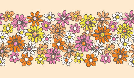 Retro Palette Hand Drawn Felt Tip Pen Daisies on Cream Background Floral Vector Seamless Pattern Border. Orange Pink Yellow Flowers Design. Bold Large Vintage Blooms Fashion, Textile Trendy Print  イラスト・ベクター素材