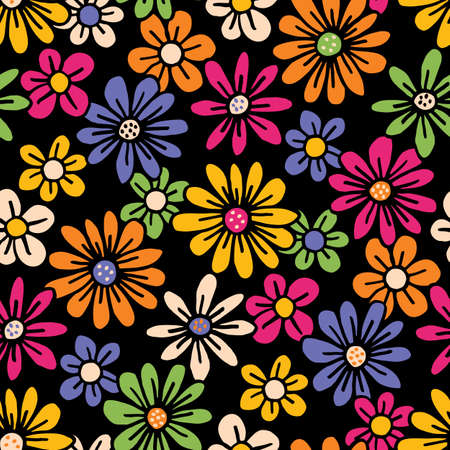 Bright Colorful Hand Drawn Felt Tip Pen Daisies on Dark Background Floral Vector Seamless Pattern. Orange Pink Yellow Flowers Design. Bold Large Vintage Blooms Fashion, Textile Trendy Print