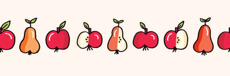 Cute Colorful Hand Drawn Felt Tip Pen Fresh and Juicy Apple and Pears Fruits on White Vector Seamless Horizontal Pattern Border . Healthy Food Design. Vintage Cute Fashion, Textile Packaging Print
