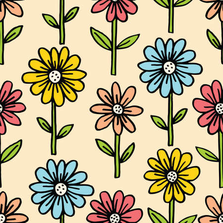 Colorful Hand Drawn Felt Tip Pen Daisies with Stems and Leaves on White Background Floral Vector Seamless Pattern. Growing Flowers Design. Bold Large Vintage Blooms Fashion, Textile Trendy Print
