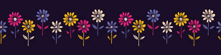 Colorful Hand Drawn Felt Tip Pen Daisies with Stems and Leaves on Dark Background Floral Vector Seamless Horizontal Pattern Border. Growing Flowers Design. Bold LargeBlooms Fashion, Textile Print  イラスト・ベクター素材