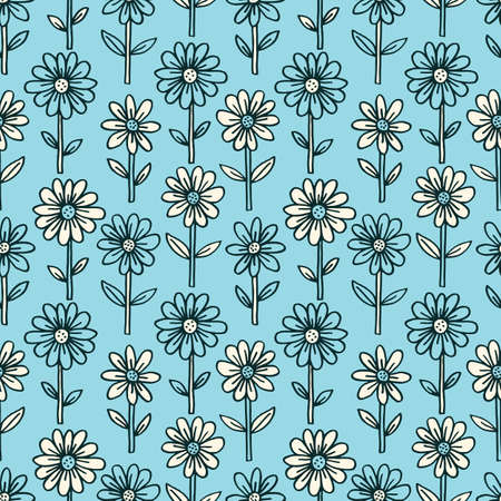 Monochrome Hand Drawn Felt Tip Pen Daisies with Stems and Leaves on Blue Background Floral Vector Seamless Pattern. Growing Flowers Design. Bold Large Vintage Blooms Fashion, Textile Trendy Print
