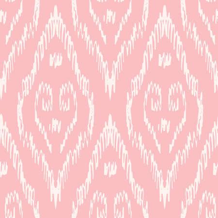 Hand-Drawn Pink and White Traditional Ikat Boho Damask Diamonds Vector Seamless Pattern. Modern Woven Swirls Geometric Print, Perfect for Textiles, Fashion, Background. Monochrome Tribal Boho Texture