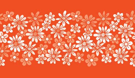 Monochrome Orange Hand Drawn Felt Tip Pen Daisies Background Floral Vector Seamless Horizontal Pattern Border. Cream Flowers Design. Bold Large Vintage Blooms Fashion, Textile Trendy Print  イラスト・ベクター素材