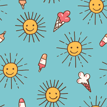 Cute Colorful Hand-Drawn Felt Tip Marker Shining Sun with Beams and Melting Ice Cream Cones on Blue Background Vector Seamless Pattern. Whimsical Summer Trendy Kids Print for Fashion, Textiles  イラスト・ベクター素材