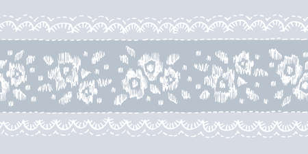 Crewel Embroidery Floral Lace Needlework Vector Seamless Pattern Horizontal Border . Hand Drawn Traditional Flower Print. Classic English Craft Linen Background for Fashion, Textiles, Home Decor 写真素材