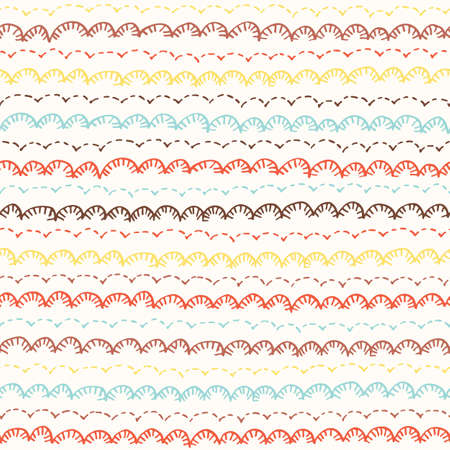 Colorful Boho Embroidery Needlework Vector Seamless Pattern. Hand Drawn Tribal Scalloped Edge Stitches Print. Whimsical Kids Craft Linen Background for Fashion, Textiles, Home Decor Standard-Bild