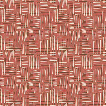 Hand Drawn Beige Basket Weave Vector Seamless Pattern on Clay Tone Background. Farmhouse Tribal Spun Textile. Organic Abstract Linen Print. Rustic Craft Design for Textiles, Fashion and Home Decor. 写真素材