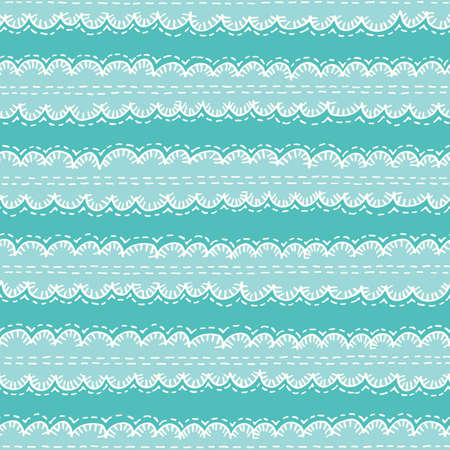 Colorful Aqua Boho Embroidery Needlework Vector Seamless Pattern. Hand Drawn Tribal Scalloped Edge Stitches Ribbon Print. Cute Whimsical Kids Craft Linen Background for Fashion, Textiles, Home Decor