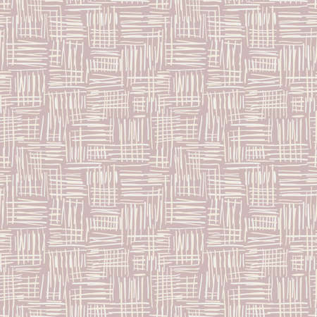 Hand Drawn Cream Basket Weave Vector Seamless Pattern on Beige Tone Background. Farmhouse Tribal Spun Textile. Organic Abstract Linen Print. Rustic Craft Design for Textiles, Fashion and Home Decor. 写真素材