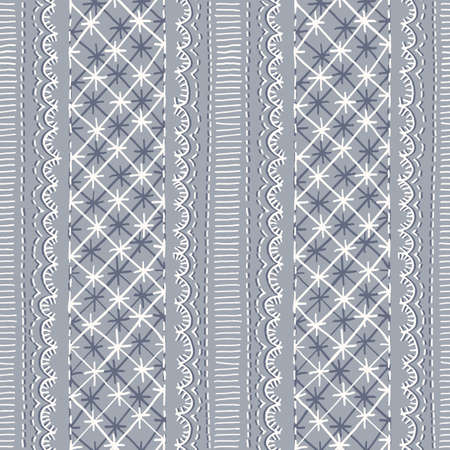 Crewel Embroidery Lace Needlework Vector Seamless Pattern. Hand Drawn Traditional Jacobean Scalloped Sewing Stitches Print. Classic English Craft Linen Background for Fashion, Textiles, Home Decor