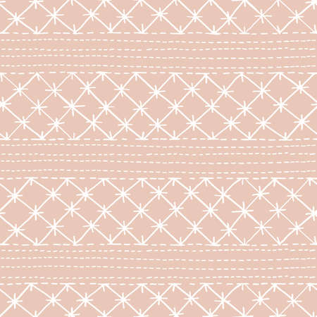 Crewel Embroidery Lace Needlework Vector Seamless Pattern. Hand Drawn Traditional Jacobean Sewing Stitches Print. Classic English Craft Linen Background for Fashion, Textiles, Home Decor