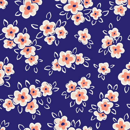 Hand Drawn Artistic Naive Daisy Flowers on Blue Background Vector Seamless Pattern. Blob Coral Blooms, Blotched Floral Print. Expressive Outlines, Organic Large Scale Simplistic Retro Fashion Design Vectores
