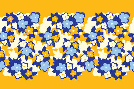 Hand Drawn Artistic Naive Daisy Flowers on Yellow Background Vector Seamless Pattern Border. Blob Blooms, Blotched Floral Print. Expressive Large Scale Simplistic Retro Fashion Design
