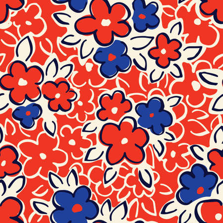 Hand Drawn Artistic Naive Daisy Flowers on Red Background Vector Seamless Pattern. Blue Blob Blooms, Blotched Floral Print. Expressive Outlines, Organic Large Scale Simplistic Retro Fashion Design