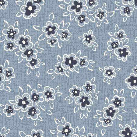 Hand Drawn Artistic Naive Daisy Flowers on Blue Denim Background Vector Seamless Pattern. Blooms, Indigo Floral Print. Expressive Outlines, Organic Large Scale Simplistic Retro Fashion Design  イラスト・ベクター素材