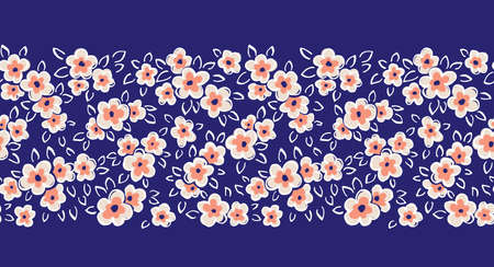 Hand Drawn Artistic Naive Daisy Flowers on Blue Background Vector Seamless Pattern Border. Blob Blooms, Blotched Floral Print. Expressive Outlines, Organic Large Scale Simplistic Retro Fashion Design