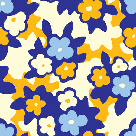 Hand Drawn Artistic Naive Daisy Flowers on Yellow Background Vector Seamless Pattern. Colorful Blue and Cream Blob Blooms, Blotched Floral Print. Expressive Large Scale Simplistic Retro Fashion Design