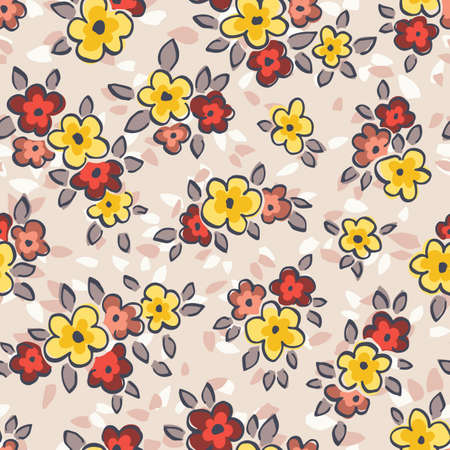 Hand Drawn Artistic Naive Daisy Flowers on Beige Background Vector Seamless Pattern. Blob Blooms, Blotched Floral Print. Expressive Outlines, Organic Large Scale Simplistic Retro Fashion Design