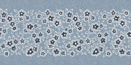 Hand Drawn Artistic Naive Daisy Flowers on Blue Denim Background Vector Seamless Pattern Border. Blooms, Indigo Floral Print. Expressive Outlines, Organic Large Scale Simplistic Retro Fashion Design  イラスト・ベクター素材