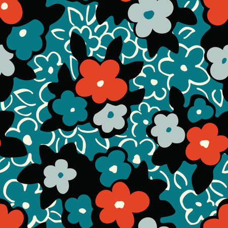 Colorful Hand Drawn Artistic Naive Daisy Flowers on Aqua Background Vector Seamless Pattern. Blob Blooms, Paint Floral Print. Expressive Outlines, Organic Large Scale Simplistic Retro Fashion Design