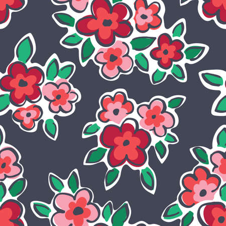 Colorful Hand Drawn Artistic Naive Daisy Flowers on Grey Background Vector Seamless Pattern. Blob Blooms, Paint Floral Print. Expressive Outlines, Organic Large Scale Simplistic Retro Fashion Design