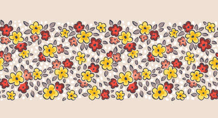 Hand Drawn Artistic Naive Daisy Flowers on Beige Background Vector Seamless Pattern Border. Blob Blooms, Blotched Floral Print. Expressive Outlines, Organic Large Scale Simplistic Retro Fashion Design