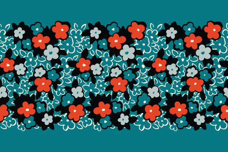 Colorful Hand Drawn Artistic Naive Daisy Flowers on Aqua Background Vector Seamless Pattern Border. Blooms, Paint Floral Print. Expressive Outlines, Organic Large Scale Simplistic Retro Fashion Design