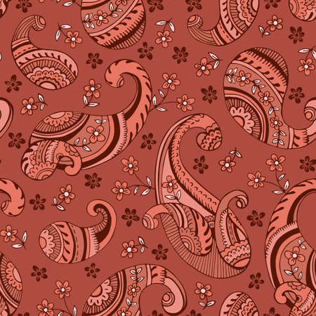 Colorful Seventies Retro Outline Hand Drawn Paisley Vector Seamless Pattern. Clay Tones Feminine Whimsical Classic Textile Print