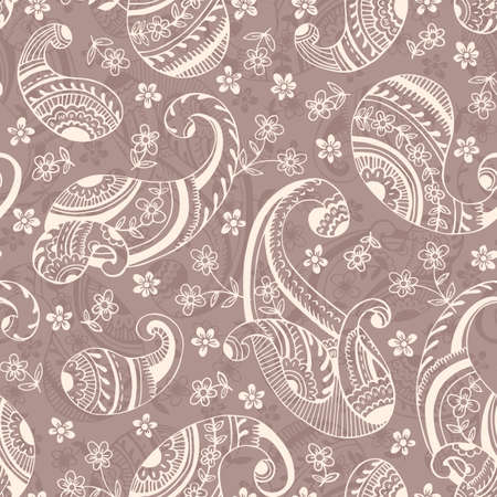 Seventies Retro Outline Hand Drawn Paisley Vector Seamless Pattern. Monochrome Cute Feminine Whimsical Classic Textile Print  イラスト・ベクター素材