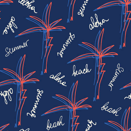 Doodle Hand Drawn Palms Hawaiian Beach Shirt Vector Seamless Pattern. Retro Surf Tropical Vacation Print for Fashion, Textile. Playful Eighties Style Summer Background. Handwritten Lettering Aloha  イラスト・ベクター素材