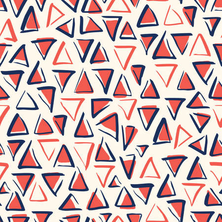 Playful Bule White and Red Geometric Vector Seamless Pattern with Hand-Drawn Triangles. Brush Marker Doodle Zig-Zag Triangles. Abstract Organic Geo Print Perfect for Fashion, Textiles, Scrapbooking