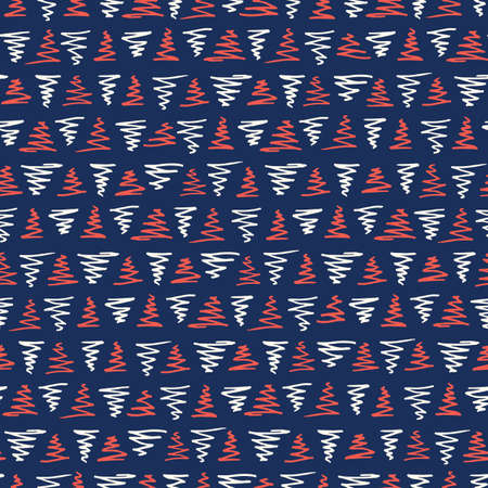 Playful Bule White and Red Geometric Vector Seamless Pattern with Hand-Drawn Triangles. Doodle Red Zig-Zag Triangles. Abstract Organic Geo Print Perfect for Fashion, Textiles, Scrapbooking  イラスト・ベクター素材
