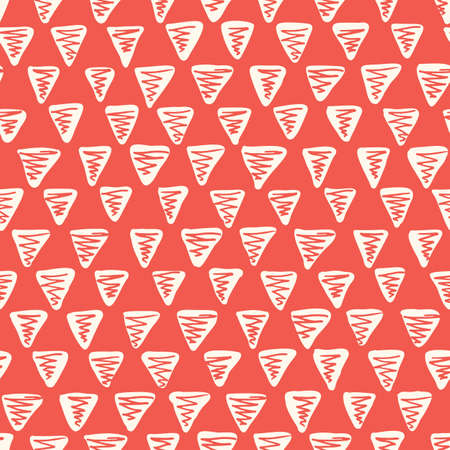 Playful Monochrome Geometric Vector Seamless Pattern with Hand-Drawn Triangles. Doodle Red Zig-Zag Triangles. Abstract Organic Geo Print Perfect for Fashion, Textiles, Scrapbooking  イラスト・ベクター素材