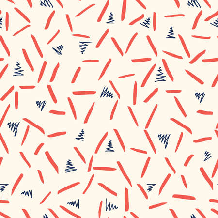 Playful Blue White and Red Geometric Vector Seamless Pattern with Hand-Drawn Triangles and stripes. Doodle Red Zig-Zag Triangles. Abstract Organic Geo Print Perfect for Fashion, Textiles, Scrapbooking