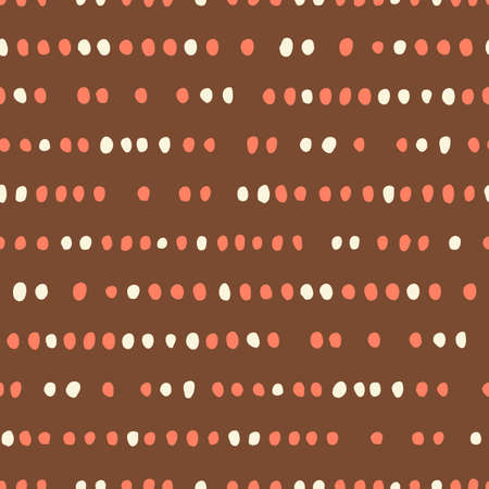 Retro Geo Dotted Stripes Vector Seamless Pattern. Ditsy Modern Abstract White and Orange Hand-Drawn Dots on Indigo Background. Whimsical Modern Print. Geometric Mid-Century Print for Fashion, Home Decor