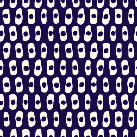 Hand-Drawn Geo Organic White Lines, Dots, Stripes Vector Seamless Pattern. Modern Indigo Blue Abstract Geometric Background. Whimsical Print with Uneven Shapes. Minimalist Tie-Dye Print