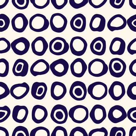Retro Irregular Shaped Circles Set Vector Seamless Pattern. Modern Mid-Century Abstract Geometric White, Indigo Blue Background. Whimsical Geometric Uneven Polka Dot for Home Decor, Fashion Print