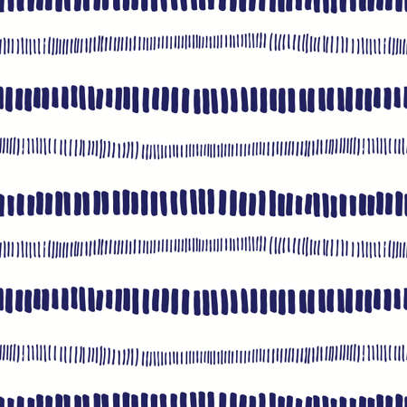 Hand-drawn whimsical textured organic horizontal stripes vector seamless pattern. Fresh tie-dye abstract geometric marks print in white and indigo blue. Marks, scribbles. Perfect for home decor