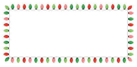 Vector Retro Colorful Holiday Christmas and New Year String Lights Isolated Rectangular Frame on White Background. Winter Holiday Circular Decorative Element Perfect for Invitations, Postcards, Banners