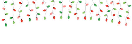 Vector Retro Colorful Holiday Christmas and New Year Hanging String Lights Isolated Top Frame on White Background. Winter Holiday Circular Decorative Element Perfect for Invitations, Postcards, Banners