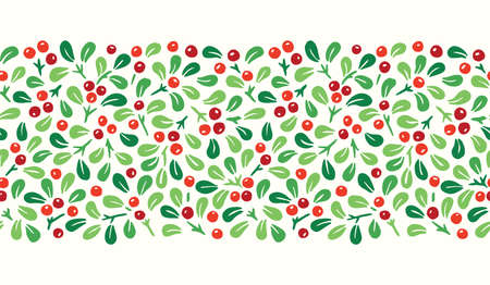 Colorful Hand Drawn Abstract Christmas Mistletoe Foliage Horizontal Vector Seamless Pattern Border. Modern Winter Holiday Print in Bright Tones. Perfect for Invitations, Gift Paper, Stationery