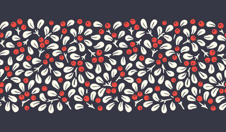 Hand Drawn Abstract Christmas Mistletoe Foliage Horizontal Vector Seamless Pattern Border on Dark Background. Modern Winter Holiday Print . Perfect for Invitations, Gift Paper, Stationery
