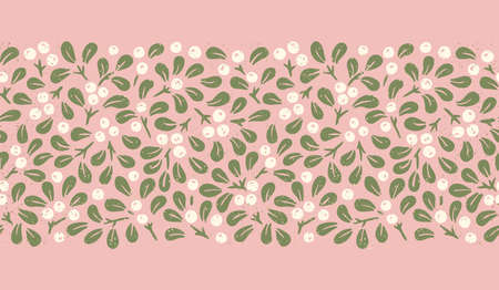 Hand Drawn Abstract Christmas Mistletoe Foliage Horizontal Vector Seamless Border with Gold Speckles. Modern Winter Holiday Print in Pastel Tones. Perfect for Invitations, Gift Paper, Stationery 일러스트