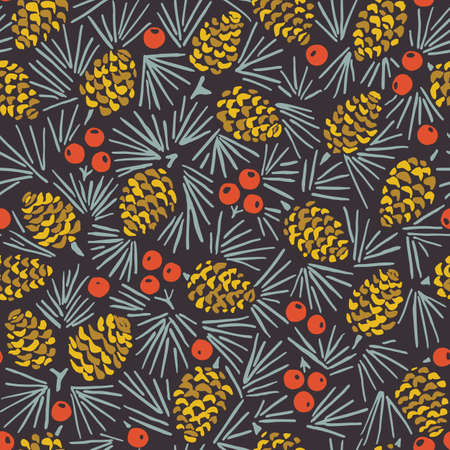 Hand Drawn Abstract Christmas Pin Cone, Red Berries, Fir Tree Foliage Horizontal Vector Seamless Pattern on Dark Background. Modern Winter Linocut Holiday Print. Perfect for Invitations, Gift Paper